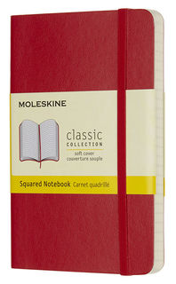 Блокнот Moleskine CLASSIC SOFT 90x140мм 192стр. клетка мягкая обложка фиксирующая резинка красный [qp612f2]
