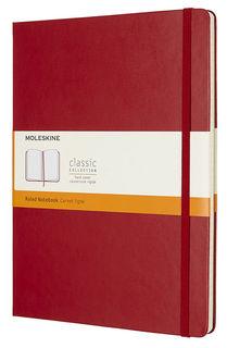 Блокнот Moleskine CLASSIC XLarge 190х250мм 192стр. линейка твердая обложка фиксирующая резинка красн [qp090f2]