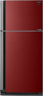 Холодильник SHARP SJ-XP59PGRD, двухкамерный, черное стекло