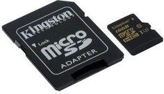 Карта памяти microSDHC UHS-I U3 KINGSTON 16 ГБ, 90 МБ/с, Class 10, SDCG/16GB, 1 шт., переходник SD