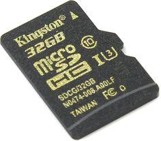 Карта памяти microSDHC UHS-I U3 KINGSTON 32 ГБ, 90 МБ/с, Class 10, SDCG/32GBSP, 1 шт.
