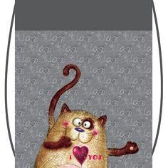 Сумка для обуви Silwerhof 840371 Смешной кот серый 35x43см 1 отдел. б/карм. нейлон
