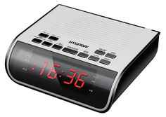 Радиобудильник HYUNDAI H-RCL100, красная подсветка, белый