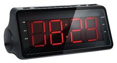 Радиобудильник HYUNDAI H-RCL140, красная подсветка, черный