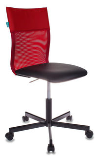 Кресло БЮРОКРАТ CH-1399, на колесиках, искусственная кожа, красный/черный [ch-1399/r+b]