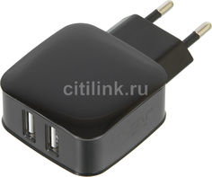 Сетевое зарядное устройство GINZZU GA-3010UB, 2xUSB, microUSB, 2.1A, черный