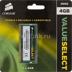 Модуль памяти CORSAIR CMSO4GX3M1A1333C9 DDR3 - 4Гб 1333, SO-DIMM, Ret