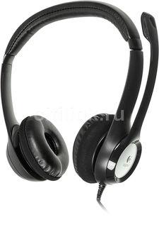 Наушники с микрофоном LOGITECH H390, 981-000406, накладные, черный / серебристый