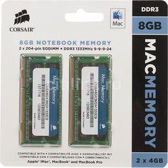 Модуль памяти CORSAIR CMSA8GX3M2A1333C9 DDR3 - 2x 4Гб 1333, SO-DIMM, Mac Memory, Ret