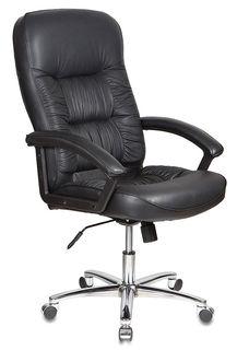 Кресло руководителя БЮРОКРАТ T-9908AXSN-AB, на колесиках, кожа, черный