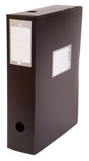 Короб архивный вырубная застежка Бюрократ -BA100/08BLCK пластик 0.8мм корешок 100мм 330х245мм черный