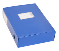 Короб архивный вырубная застежка Бюрократ -BA80/08BLUE пластик 0.8мм корешок 80мм 330х245мм синий