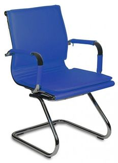 Кресло БЮРОКРАТ CH-993-Low-V, на полозьях, искусственная кожа, синий [ch-993-low-v/blue]