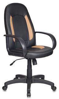 Кресло руководителя БЮРОКРАТ CH-826, на колесиках, искусственная кожа, черный/бежевый [ch-826/b+bg]