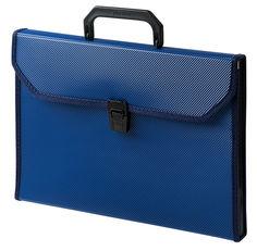 Портфель Бюрократ -BPP6TLBLUE 6 отдел. A4 ребрист. поверхн. с окантовкой пластик 0.7мм синий