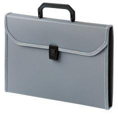 Портфель Бюрократ -BPP6TLGREY 6 отдел. A4 ребрист. поверхн. с окантовкой пластик 0.7мм серый