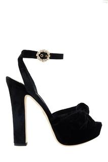 Бархатные босоножки с кристаллами Dolce&;Gabbana