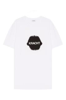 Белая футболка с принтом Dirk Bikkembergs