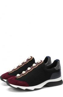 Комбинированные кроссовки с декором без шнуровки Fendi