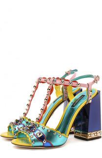 Кожаные босоножки Keira с декором на массивном каблуке Dolce & Gabbana