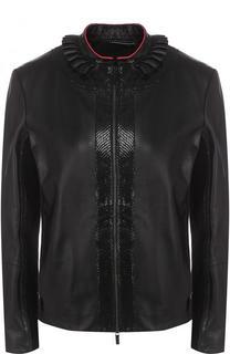 Приталенная кожаная куртка с воротником-стойкой Giorgio Armani