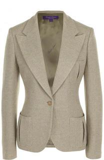 Приталенный жакет из смеси шерсти и льна с шелком Ralph Lauren