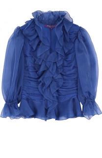 Полупрозрачная шелковая блуза с драпировкой Ralph Lauren
