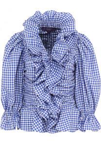 Хлопковая блуза в клетку с оборками и драпировкой Ralph Lauren