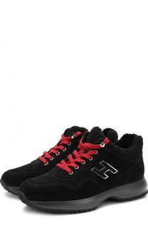 Утепленные замшевые кроссовки с контрастной шнуровкой Hogan