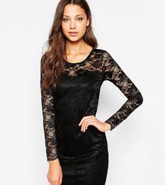 Кружевное облегающее платье мини Vero Moda Tall - Черный