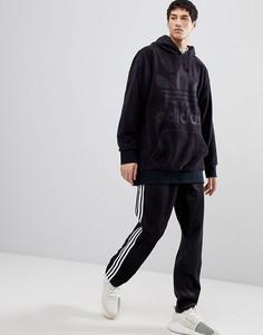Худи из черного велюра свободного кроя adidas Originals adicolor CY3549 - Черный