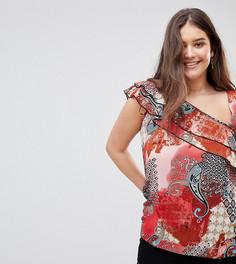 Блузка на одно плечо с оборками и принтом пейсли Lovedrobe - Мульти