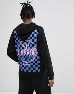 Oversize-худи с принтом в шахматную клетку и надписью на спине ASOS - Черный