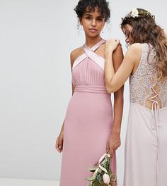 Плиссированное платье макси с бантом на спине TFNC - Розовый