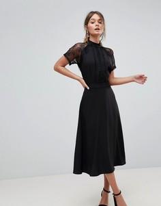 Приталенное платье миди с кружевной отделкой Liquorish - Черный