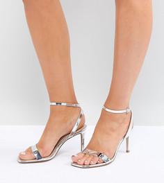 Босоножки на каблуке для широкой стопы ASOS HALF TIME - Серебряный