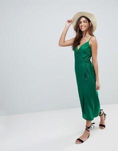 Платье-комбинация макси с запахом ASOS DESIGN - Зеленый