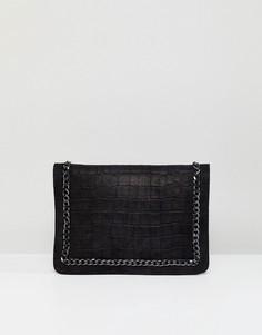 Кожаный клатч с отделкой цепочкой ASOS - Черный