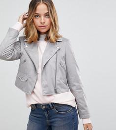Байкерская куртка из искусственной замши ASOS PETITE - Серый