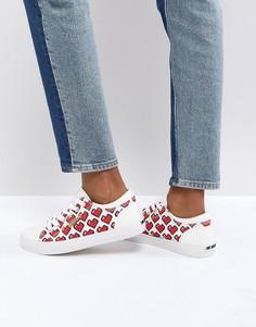Кроссовки с пиксельным принтом сердечек Love Moschino - Мульти
