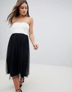 Платье миди в стиле колор блок с вырезом бандо ASOS DESIGN - Мульти