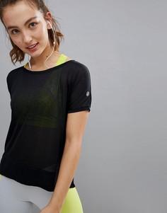 Черная футболка с укороченной вставкой спереди Asics Running - Черный