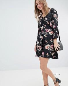 Платье с цветочным принтом и пуговицами Influence - Черный