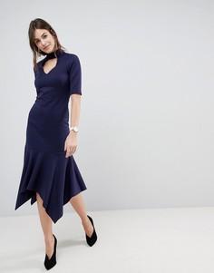 Платье миди с дутым низом и воротником ASOS - Темно-синий