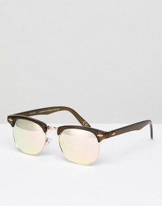 Солнцезащитные очки в стиле ретро со стеклами цвета розового золота ASOS DESIGN - Коричневый