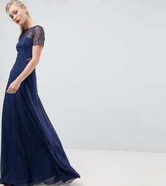 Платье макси с кружевной отделкой ASOS TALL - Темно-синий