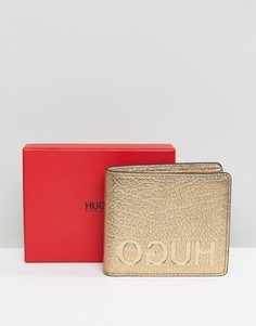 Золотистый кожаный кошелек для монет HUGO - Золотой