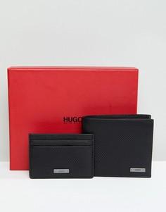 Подарочный набор из бумажника и кошелька для карт черного цвета HUGO - Черный