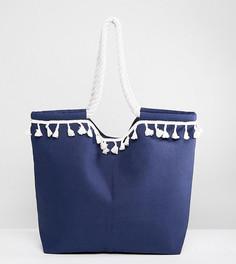 Темно-синяя пляжная сумка с отделкой South Beach - Темно-синий
