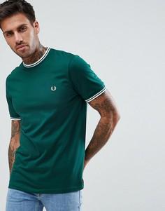 Зеленая футболка с контрастной отделкой Fred Perry - Зеленый